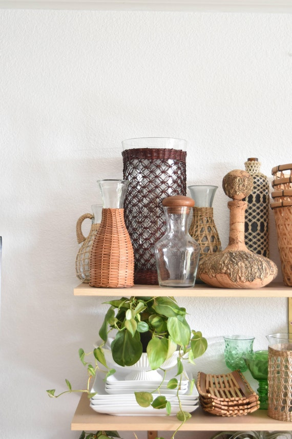 boho bohemian tall woven straw glass vase
