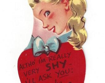 Vintage Doubl-Glo Paper Novelty Company Valentine Card, 1950s