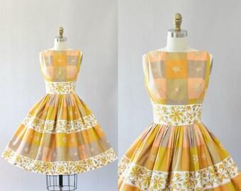 Vintage 50s Dress/ 1950s Cotton Dress/ Saba Jrs Cotton Floral & Checkered Print Shelf Bust Cotton Dress S