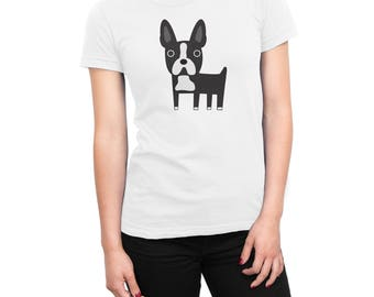 Boston Terrier womens t-shirt, women's Boston Terrier graphic white t-shirt, unique gift for her