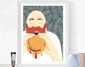 Food Illustration, Man Ea...