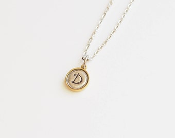 Initial, Stamped Initial, Monogram, Two Tone Necklace, Gift for Friend, Mother, Daughter
