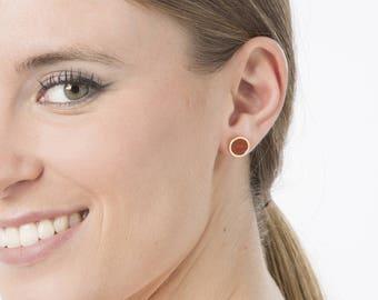 Tiny stud earrings, Delicate earrings, Gold post earrings, Red gold earrings, Small stud earrings, Natural wood studs, Everyday earrings