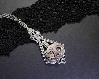 JUNE Steampunk Necklace Steampunk Jewelry Steampunk Watch Necklace Antique Silver Steampunk Wedding Steam Punk Jewelry VictorianCuriosities