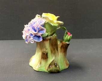 Royal Adderly Floral Bouquet on Tree Stump Bone China England Miniature