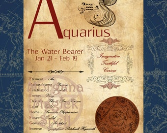 AQUARIUS ZODIAC, Digital Download, Astrology, Print, Constellation, Horoscope,   Book of Shadows Page, Wicca, BOS, Grimoire,