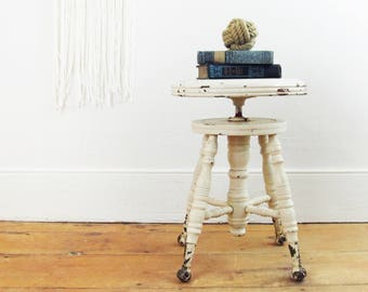 antique piano stool,Victorian piano stool,wood stool, wooden,night stand,ball and claw feet,shabby chic,farmhouse decor,side table,end table