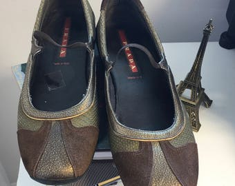 PRADA Bronze Leather and Suede Slip On Flat Shoe Size 8