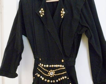 80's Vintage Glam Black Studded One-piece Jumpsuit Romper by Rio Inc Size Small