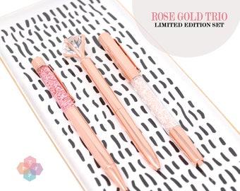 Rose Gold Pen Trio, Diamond Crystal Pen Gems for Weddings Planners, Back to School, Planner Accessories, Sparkle Pen Gem, Bujo Journal, TN