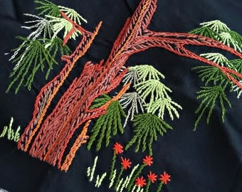 Embroidered Runner, Ethnic Linen, Fabric Art Vintage, Embroidered Patch for Sewing, Fabric Picture, Black Orange Green Valance Trees Flowers