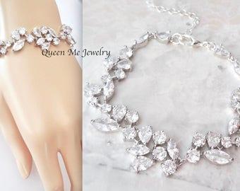 Cubic Zirconia bracelet, Brides bracelet, Wedding bracelet,Leaf design,Tennis bracelet, Marquise cut bracelet, High quality, LILLY