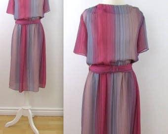 Pink Sunset Striped Dress - Vintage 1970s Ombre Chiffon Midi Dress in Medium by JS