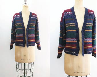 Vintage Fair Isle Sweater Vintage Stripe Sweater Vintage Knit Sweater Vintage Knit Striped Sweater Striped Sweater Fair Isle Cardigan Medium