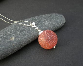 Red Fire Agate Round Ball 18mm Pendant, 925 Sterling Silver, Big Agate Ball Pendant, Fire Agate Pendant