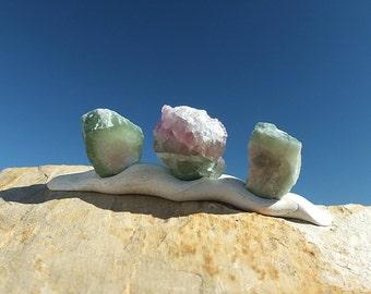Watermelon Tourmaline Crystals, x3, Untreated Stones, Green & Pink Rocks, Raw Afghanistan Minerals - 3g - 11-14mm - VIRGO ~ GEMINI (73-9a)