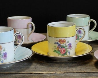 7 Vintage Colclough Bone China Espresso Cups with Saucers // Demitasse Cups // Floral Design // Pink, Blue, Yellow, Green