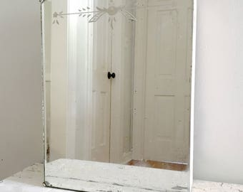 Etched Beveled Mirror Shabby Chic Cottage Farmhouse Medicine Cabinet