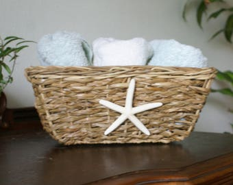 Starfish basket - storage basket - coastal decor - beach decor -nautical decor