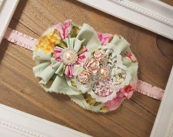 Baby Girl headband, Mint Green and Pink Rose Headband, Toddler Headband, Shabby Chic, Vintage, Pearl headband, Baby Shower Gift, Baby Girl.