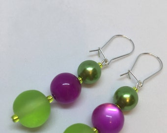 Lime Green and Pink bead and green Pearl dropper dangle Earrings with glass seed beads app 3 inches by JulieDeeleyJewellery