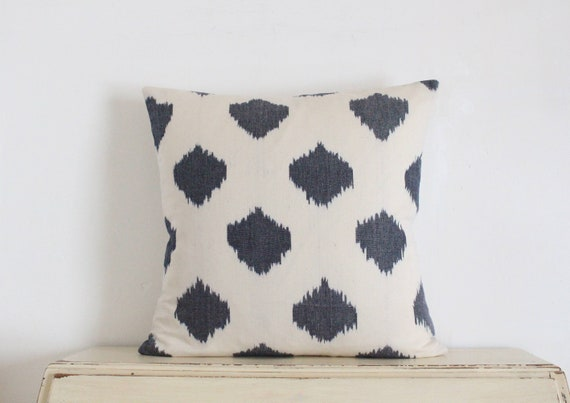 "Grey and cream ikat pillow / cushion cover 20"" x 20"""