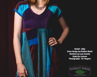 ORGANIC patchwork babydoll dress ecofriendly velour casual swing dress festival prankster sporty ZeRo WaSTe SORRY SOLD