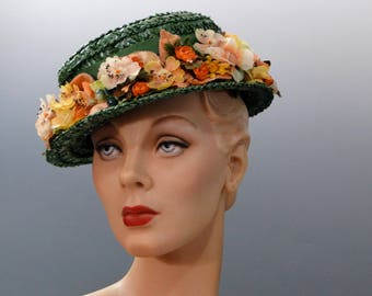 Vintage 1950's Boater Green Straw Hat with Berries and Flower Trim