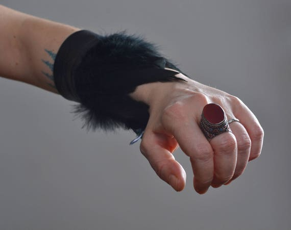 Feather Leather Cuff Bracelet - Black Leather Cuff Bracelet - Leather Feather Cuff - Festival Accessories - Burning Man