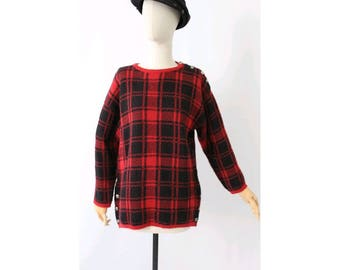 Guy Laroche 1980s plaid sweater / vintage plaid sweater/ 1980s paris  oversized tartan sweater