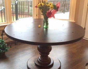 Hand Crafted Round Pedestal Dining Table Fully Customizable