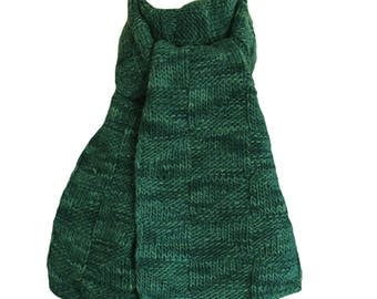 Hand Knit Scarf - Fraser River Green Wool Windmill
