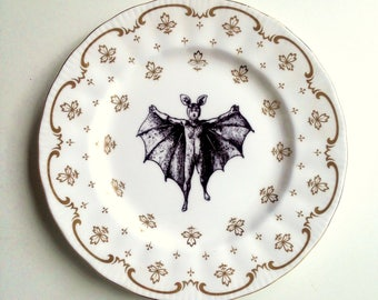 Vintage Plate Bat Boy Altered Art gothic