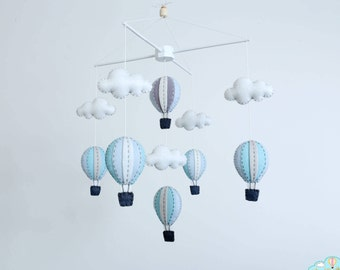 pastel blue and grey hot air balloons baby mobile, baby mobile, winter nursery, adventure nursery decor, nursery decor, pastel baby mobile
