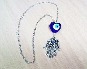 3-D Hamsa Hand Heart Rear View Mirror Charm, Gemstone Charm, Mirror Charm, Car Charm, Evil Eye Charm, Car Accessory, New Car Gift, Evil Eye