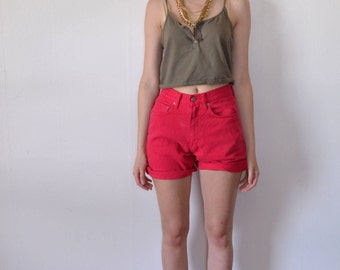 90s  High Waisted Red Denim Shorts/ Red Jean Shorts/ Pepe Jeans/ Vintage Red Shorts/Womens Denim Shorts/ Vintage Jeans