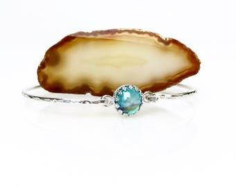 Mystic Topaz Bangle Bracelet / November Birthstone Gift for Mom or Wife / Genuine Blue Topaz Cuff Bracelet / Sterling Silver, Gold Fill