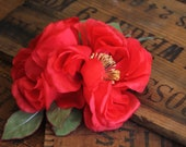 "Red Rose Fascinator, Large Floral Hair Clip, Silk Flower Headband for Women, 1950s Headpiece - ""Hearts Afire"""