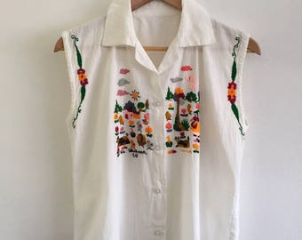 Embroidered Folk Art White Linen Button Down Collared Sleeveless Shirt made in El Salvador