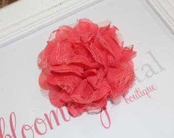 Bright Coral Lace Chiffon Flower Clip
