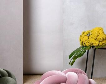 Medium knot Floor Cushion in Velvet Blush pink, Knot Floor Pillow pouf, Modern pouf, cushion, pouf ottoman, Pouf Ottomans
