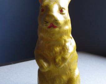 Papier-Mâché, Circa 1930s, German-Made, Yellow Rabbit Candy Container