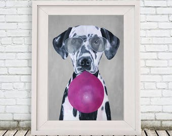 Dalmatian Print, Dalmatian drawing, dalmatian artwork, dalmatian poster, dalmatian painting, whymsical poster, dog with bubblegum