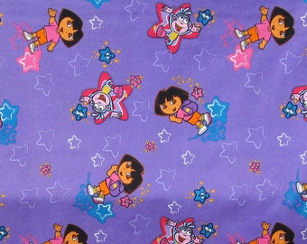 Dora The Explorer and Boots The Monkey Fabric - By The Half Yard - Purple and Stars - Cotton Fabric - 44 inches wide - FAST SHIPPING