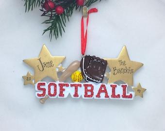 Softball Christmas Ornament / Personalized Christmas Ornament / Softball Ornament / Softball Player / Hand Personalized