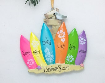 6 Member Family Personalized Christmas Ornament / 6 Surf boards / Personalized Family Ornament / Beach Ornament / Chr