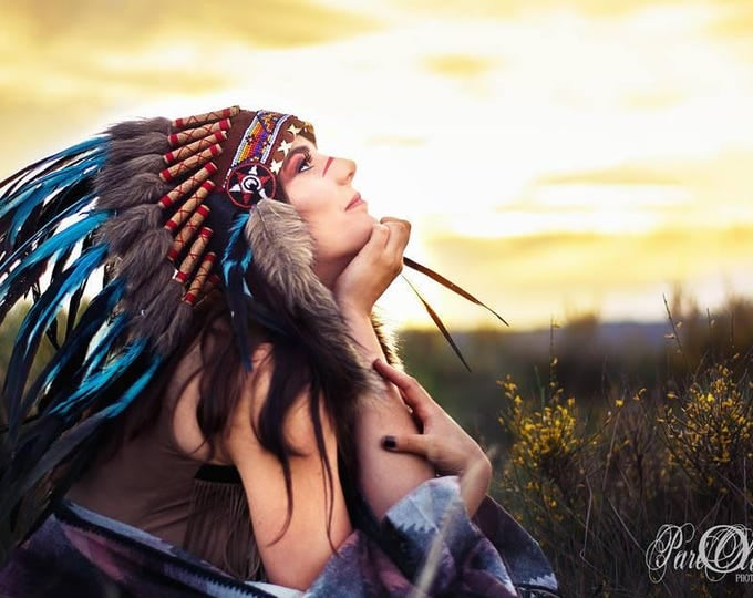 N55-Light Blue / Turquoise  and dark Feather Headdress / Warbonnet.