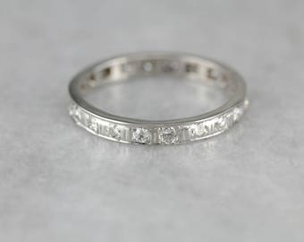 Platinum Diamond Infinity Band, Diamond Wedding Band, Eternity Band, Stacking Ring, Anniversary Band R0FQVE-N