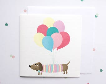 Sausage Dog Birthday Card - Dachshund Birthday Card - Girls Birthday Card - Birthday Card For Her - Birthday Card For Dog Lover