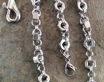 Stainless Steel Hex Nut Wallet Chain